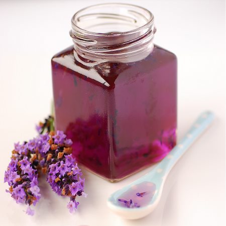 hollywierd-lyons:  LAVENDER SYRUP Ingredients – makes 2 x 190 ml jars 1.5 cups water 1.5 cups granulated sugar 2 tablespoons fresh lavender blossoms A few drops of purple food coloring (optional but will stay clear without it) Method: Place all the ingredients into a pan over a low heat until the sugar has dissolved. Bring all ingredients to a boil and simmer for 5 minutes. Remove from heat and allow to steep 30 minutes. Return to the heat and bring back to the boil. Pour into sterilized jars and seal with lids. A perfect addition to ice cream, fruit tarts, lemonade, teas or cocktails.