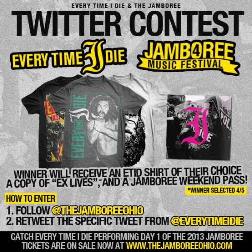 Win EVERY TIME I DIE merchandise and a WEEKEND pass to The JAM! @everytimeidieView Post