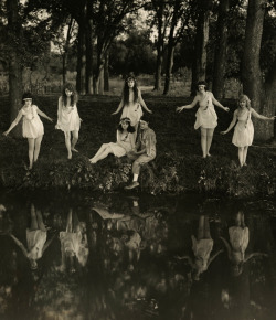 "maudelynn:  Al St. John and a troupe of Nymphs ""The Happy Pest."" c.1921"