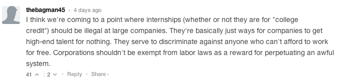 "A recent column entitled ""America is raising a generation of interns"" is generating a heated debate in the comments."