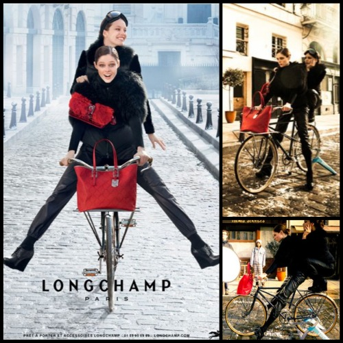 "Longchamp F/W 12 - The Mystery Of Emily's LegsI enjoy a good Photoshop fail as much as the next person, but when I saw blogs today (Huffington Post, I'm looking at you) supposedly pointing out a ""photoshop disaster"" in my current Longchamp campaign, I knew I had to correct them. According to HuffPost, Emily's feet MUST have been photoshopped out. They even gave us a cheeky explanation of exactly how pedalling works. Accctually, as you can see in the behind-the-scenes pictures above (which were posted everywhere a few months back), she's just balancing with her feet on the seat behind me. Skillful, I know, but no Photoshop disaster this time. Dear Huffington Post, this is how we roll.  I believe you stand corrected! ;)XxCocoP.S I still stand behind THIS STATEMENT."
