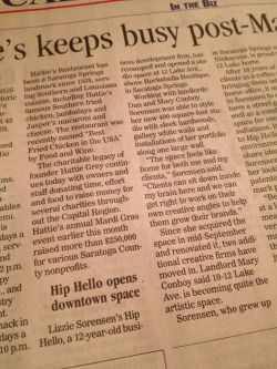 In print this week!   Thanks Saratogian—- read the entire bit on our new downtown studio space at www.Saratogian.com In the Biz