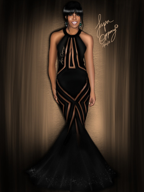 Kelly Rowland in Georges chakra 2013 Grammy awards Art by Papa Oppong Ghana