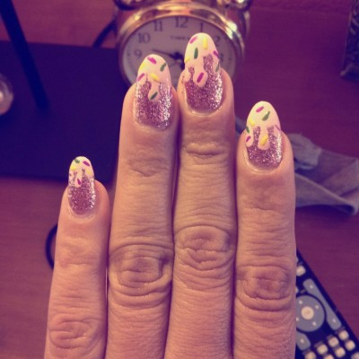 "I did my nails again… I call it ""melted ice cream"" yum!"