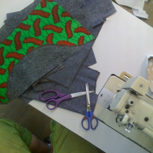 sewing saturdays .. creaky old denim, African waxprints, and og twill on deck gogo #team #madeinchicago (at wit my boo in the car)
