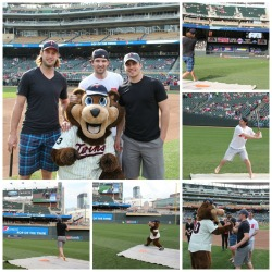 fedorfedorov:  Josh Harding, Tom Gilbert and Zach Parise compete in a homerun derby with TC Bear.