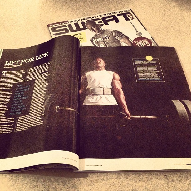 My photo of one of our trainers, Dion, made its way into Canadian #Crossfit magazine SweatRX, Nov/Dec 2012 issue. Always flattering to see your work in print. #crossfitpulse #strobist #nikon #fitness #photography #sweatrx #magazine