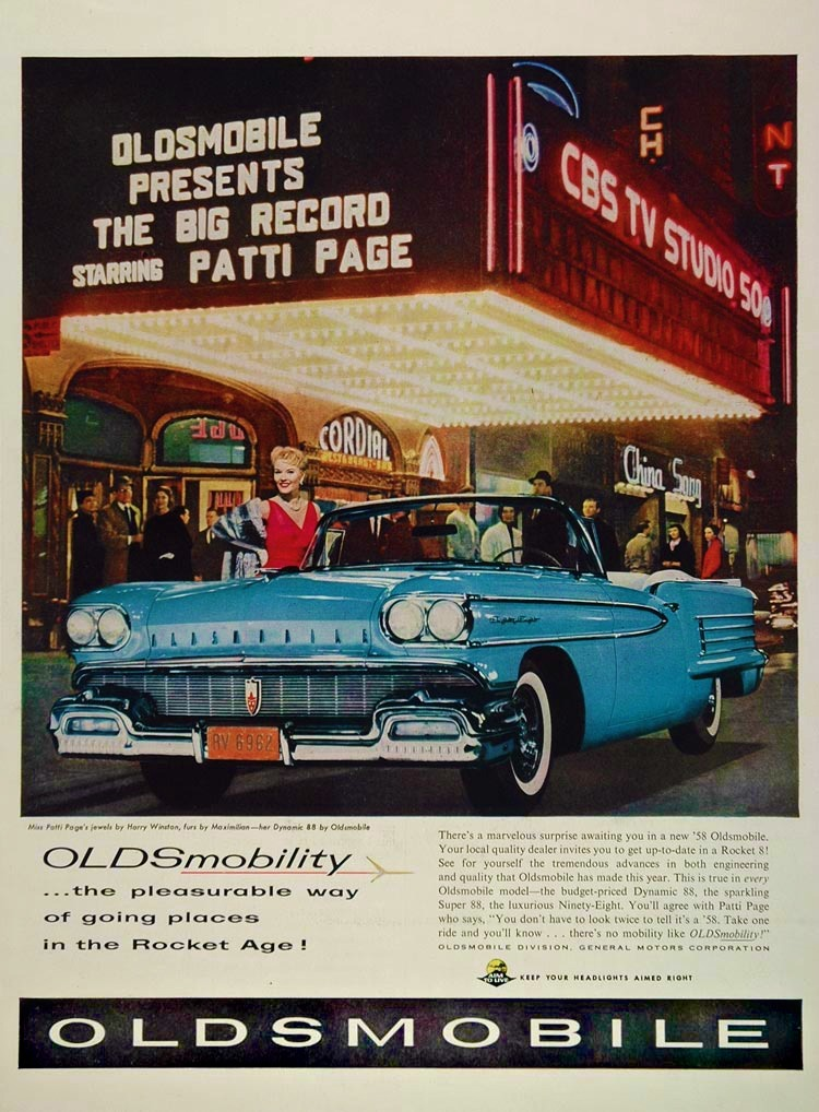 1958 Oldsmobile featuring Patti Page