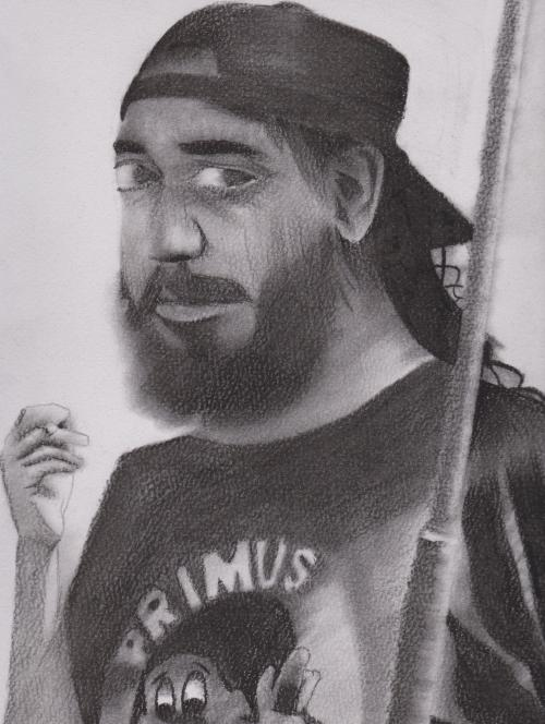 kim thayil, done in charcoal
