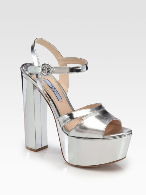 (via Shoes As Art / Prada Metallic Leather Platform Sandals in Silver (argento) | Lyst)