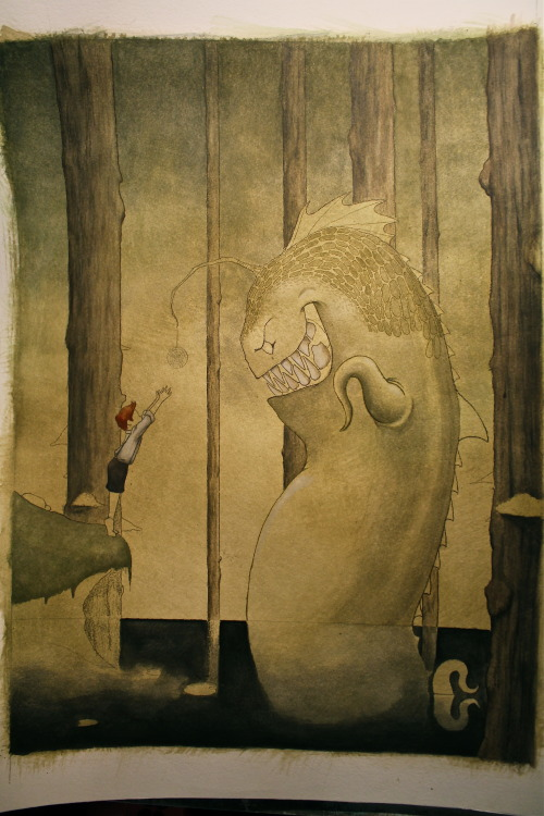 """The Angler in the Moor"" 18""x24"" watercolor on paper. I got a new, random illustration started last week with a little gap between commissions.  I'm still new to watercolors, but they may be my new favorite medium.  The Angler will have a colorful Whirly Pop dangling from his antennae to entice children to the edge of the water. When they lose balance and fall in, he devours them."