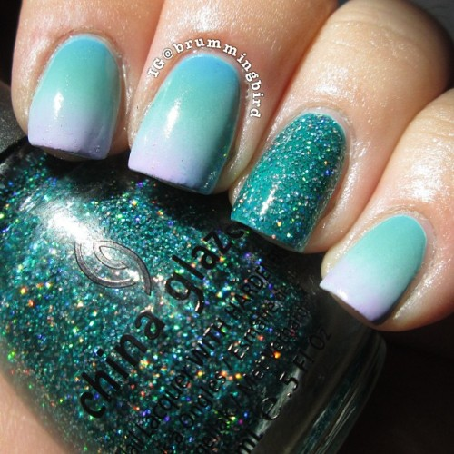 "truthteller:  Inspired by an ombré pattern on a Victoria's Secret bathing suit that I saw in the catalog. Colors used: Lime Crime ""Lavendairy"" and ""Once Upon a Blue Mousse,"" OPI ""No Room For The Blues,"" Zoya ""Wednesday,"" and China Glaze ""Atlantis."""