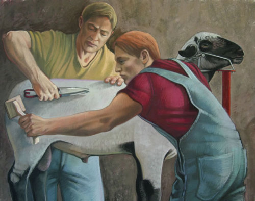 Nora Othic - Two Men Grooming a Sheep (pastel)