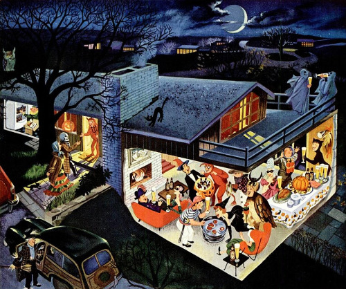 Halloween Costume Party, detail from 1953 Ballantine Beer ad, art by Frederick Siebel.  How cool is this?!