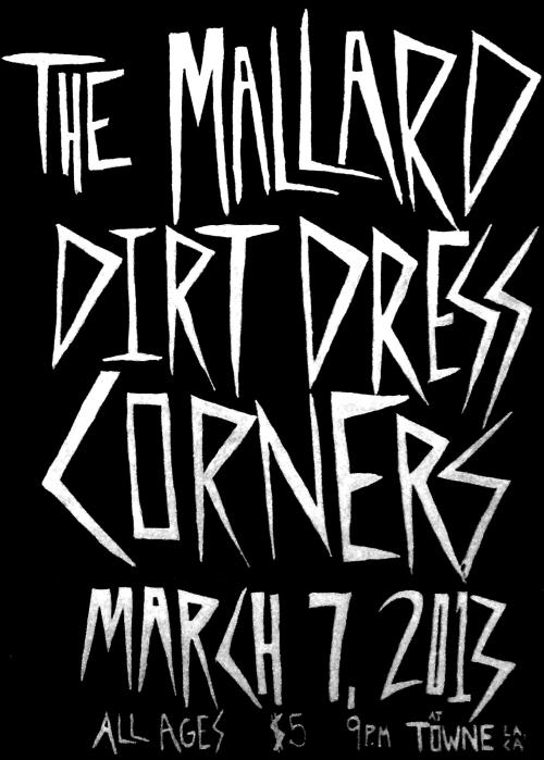 Come out to this show with Dirt Dress, Corners, and The Mallard from SF! It's a last minuted show but will be super fun, all ages and only $5! Plus Nick from Adult Books will be spinning punk records all night long!