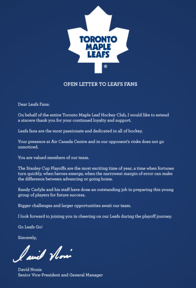 A letter from Leafs' GM, David Nonis.