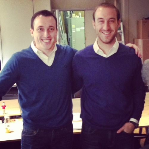 Have y'all ever seen such an overjoyed pair of Memo-getters? The blue-v-neck-sweaters-white-collared-shirts-and-jeans Memo delivered to AOL Ventures' Mike and Nic may have included a post script related to grins of elation. Or maybe it's just Friday.  Thanks to Keegan for the tip!