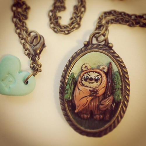 New scenic #ewok necklace. Available tomorrow! #starwars #art #esty #jewelry #geek