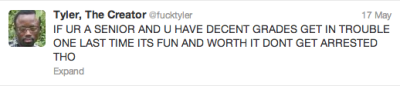 wolvesdontwearboots:  Tyler, the Creator offers some sound advice.