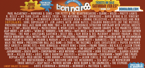 sooo Bonnaroo lineup was announced yesterday and I am dying. PAUL MCCARTNEY!!!!!!!!!!Grizzly Bear, Local Natives AND Lord Huron?!BJORK!! David Byrne & St. Vincent!! Billy Idol?!?? what?!?Tallest Man on Earth.. Jim James.. Wilco.. TOM PETTY. THE NATIONALThe Lumineers.. aww! ahh and CAT POWER!Ariel Pink.. Animal Collective. Pretty Lights. Tame Impala!and randomly.. R. Kelly and Wu-Tang? sure. I can't EVEN.. agahhhhhh! just.. fuck yes. Of course  I hope Fleetwood Mac confirms….ahh and The Head and The Heart would be just lovely. and I totally wouldn't mind Frank Ocean. But I guess this will do :) {abbey}