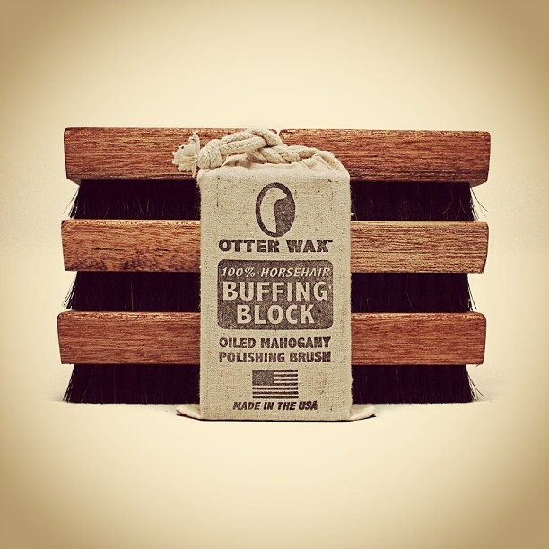100% Horsehair Buffing Blocks are now in stock! Oiled mahogany polishing brushes for all your #leather made here in Portland, Oregon. #otterwax