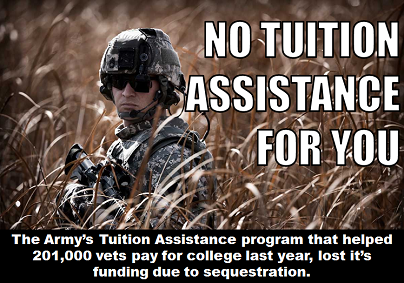 Due to a loss of funding from sequestration, the Army had to suspend their Tuition Assistance program that assisted veterans in paying for college. What's your opinion? LIKE if we should stop the sequester and reinstate the TA program & REBLOG if budget cuts are necessary. For today's full translation, click here!