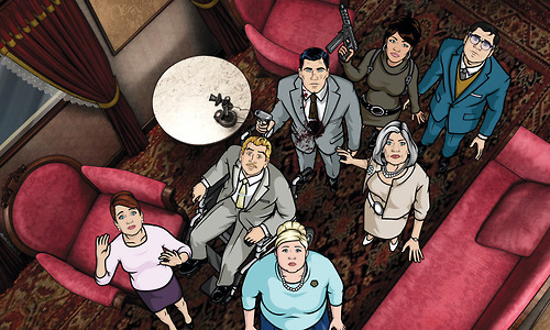 "Archer is one of those rare shows that's capable of finding humor both high and low in its characters' diverse and often self-inflicted quandaries, whether they're dangerous missions in exotic locations, or just a bevy of HR complaints. Like anything great, Archer has its following on Tumblr, including copious gif sets from choice jokes, two different Fuck Yeah Archer blogs, and fandom crossovers like Sterling Archer Draper Price. Although show creator Adam Reed was indisposed (in his ""writing cave"" attempting to finished the season finale's script) Matt Thompson, Executive Producer and collaborator with Reed on such wonderful shows as Sealab 2021 & Frisky Dingo was nice enough to answer our most pressing questions about Archer.  How did you two start working together?Thompson: Adam and I were both working in the On-Air Promotions department at Cartoon Network (1994???). It was a really great place to work too. It still had that small, us against them feel as the network had not been around that long. At that time it was mostly a place to catch old Hanna Barbera cartoons as Adult Swim did not exist yet. Our boss, a really great guy named Stephen Croncota, decided to pair us together to make some small interstitial shows to wrap around things like the Smurfs. We came up with a talking hand show where my hand was a no nonsense cowboy and Adam's hand was my wacky sidekick. I use to have tons of tape on this, but I can no longer find it. I did find one thing online, a promo we did for an upcoming show of ours.  It starts at the one minute mark.   A running theme in your shows has been high-flying settings (dangerous missions, world domination) mixed with the incredibly mundane (pay raises, political campaigns). What things have informed your choice to juxtapose those situations?The high-flying setting stuff comes from Adam's love of Ian Fleming's James Bond character. Not the one we have today (which is great too), but the original novel version of the character where he is much darker, much more of a misogynist. And Adam likes to have fun with that.  Additionally Adam is incredibly well traveled having spent recent time in the Middle East and Vietnam. And he speaks fluent Spanish and French.    The mundane thing comes from the two of us running a small business as we have owned the company that makes all of our shows since 1999. We employ a staff and deal with standard small business stuff everyday: taxes, health insurance, paper jams, office colds. No matter what business you work in, I think people can all identify with someone at the office throwing a fit because we are out of staples.    And we have always had fun putting those two things together - life and death danger goes to the HR department.   You mentioned in a previous interview that the characters were drawn from real people in Atlanta. Was that the process used Frisky Dingo? Why did you choose to create the characters that way? We do create characters from real people in Atlanta… mostly. For example Cyril Figgis happens to run a series of very high end restarants in Atlanta. Pam Poovey has an antiques shop in a part of town  called the highlands. Ray Gillette is actually Lucky Yates who voices Dr. Krieger. Then our staff fills in a lot of the other characters. This year our lead character designer, Chi, actually appears in a couple of episodes as herself.   It was slightly different on Frisky. Frisky was a little simpler. But the basics of the process are the same.    We choose to create the characters this way because we were looking for something that a large staff could draw quickly that we would not have to worry as much about everyone's different drawing styles. But now that our illustration staff has been together so long, they are making up a lot of characters out of thin air. Which is nice.   Walk us through the writing process of an episode of Archer.Adam sits down at his computer and bangs them out. He does a lot of this from home, where things are more quiet. People always ask me about how wacky our writers room meetings are. And then everyone is shocked to find out this is just one guy typing away.  Even if the scripts were not great (which they always are), he should be commended for the amount of actual words he writes in a year.    Which character do you have the most fun writing for?I would think that Adam would say Pam. She is unfiltered, but yet she seems kind. I think she gets the best lines.    Having the show set in an indeterminate time period allows you to draw on a lot of imagery—and technology—from diverse points in history. Has there ever been something you felt was too out of place?Hmmm…  not sure.  I know we had a big talk about cell phones early on.  Because we definitely wanted them and wanted them to exist.  At the same time, we did not want phone cords to exist.  But that was strictly out of them being a pain in the ass to deal with animation wise.   I think I am going to turn this over to our Art Director, Neal Holman, for better insight.   Holman: In 203, Movie Star — the episode where the actress/assassin Rhona Thorne was ""Amazing!"" —- there is a shot of Cheryl and Pam watching an internet broadcast on their computers.   It didn't stick out at the time, but in hindsight, that crossed over a line into familiar modernity that we try to avoid.  Most of the ISIS computers have the old MS DOS interface.  Malory's computer and those in Signal Intelligence are the only machines that are supposed to have that level of technology (internet, satellite, etc.   You already got your wish in working with David Cross for the 'Heart of Archness' trilogy. Is there anyone else you'd like to have on the show?This season we are going to have Timothy Olyphant playing Archer's best friend. And he was just great at the whole thing. Charming, funny, and attractive - ugh. Also, Anthony Bourdain plays a bastard celebrity chef in something this season. Adam wrote the part specifically for him as we think he is one of the coolest people on the planet. And for the two part season finale, we have a big secret casting coming. But I am going to hold on to that for a while. There are a lot of people that I think are really great that we would love to do something with. But if I had to pick just one, I think it would be Daniel Craig. But I would want him in a role as far away from his James Bond character as possible. Something that would allow him and us to make fun of the spy stuff together.    One of the coolest things about the show is its spectrum of humor, which can transition immediately from a Melville reference to dick jokes. How do you balance the two and do you see much of a difference between them?It is a really tricky balance and honestly  I do not know how Adam does it. Let me give you an example. Myself and producer Casey Willis avidly read almost every spec script we get. We do this because we are desperate to not have Adam writing so much as his fingers may literally fall off. Anyway, almost every time we read these scripts, there is something too gross in there: ""jokes"" about menstruation or jacking off monkeys… weird, un-funny shit. The writers are trying too hard to push the boundaries and would be better off just being clever.   I do not know how Adam can write a fart joke and it comes out like it does not stink. But he does it. I think he is able to do this because he is a very bright guy that has no desire to please anyone but himself.  He does not hang out in LA; we all live and work in Atlanta. He does not have a Mercedes; he drives a russian made motorcycle with a sidecar (Ural). And he will frequently hand me a great book, urging me to read it. But then warn me that he just farted on it.   There are a lot of oddball references throughout the show, but one of the most unexpected was the 'Archers of Loaf-cross' (and on that note, Woodhouse's apparent taste for Charles Mingus). What music are you into?Adam knew Archers of Loaf while he was in college at UNC Chapel Hill. Adam listens to a lot of classic stuff like Mingus and Sarah Vaughan. But really his tastes are all over. A LONG TIME ago we lived together and I remember a lot of G Love and Special Sauce mixed with the Rebirth Brass Band. But the thing I remember most about his music tastes are the things he hates: Pink Floyd and the The Doors come to mind.  I end up listening to a lot of sports talk radio during football season. But when that is all over, I return to Black Keys, Radiohead, and lately a lot of Alabama Shakes.   Will learning the identity of his biological father make Archer any kinder?No.   Have we seen the last of Baboo?Baboo will be back.  But there is now a new animal in the mix this season that Archer falls in love with. It comes in an episode late in the year. Basically it is Archer hanging out with Cujo.    Plus have you seen this shirt we had Pam wear? We had an in-house design contest where the studio voted on which shirt design most people wanted for our Production Crew shirts.  This shirt was one of the runners up.  When we used it in a Pam tweet the other day, the internet was asking why it is not for sale on FX's website.  We are asking them this as well.      Can you give us any details about the Archer/Bob's Burgers crossover? How did you convince the networks it was a good idea?It was not the networks as much as convincing Loren Bouchard that we meant no harm to his Bob's universe. Luckily he was super cool about the whole thing. And I can not wait for people to see it.  It will look like their restaurant and their characters, but we have ""Archer-ized"" them to exist in our world.    And the requisite TV Hangover question: What's your alcohol of choice and best hangover remedy? Bourbon. Always bourbon. For both Adam and myself. But I try my best to avoid it as I like staying married. But we just got some for the crew last week. If you have not heard of B&E Bourbon, google it immediately. They are made by a distillery in California named St. George Spirits. It is amazing.  Best hangover remedy: drink more bourbon. One of my favorite Archer lines: ""If I stop drinking all at once, I'm afraid the cumulative hangover will kill me.""   Archer returns for a fourth season tonight at 10pm on FX."