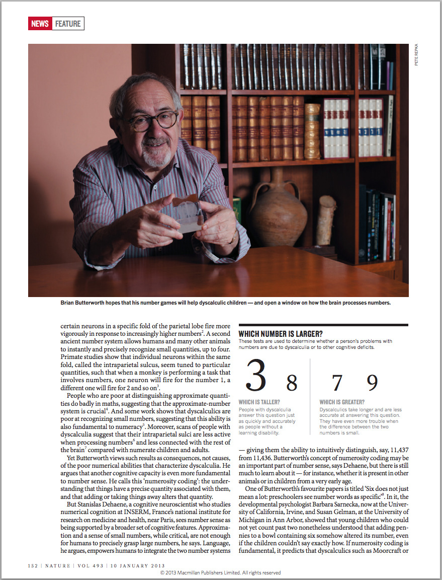 My Photo of Brian Butterworth in Nature Magazine. Such an interesting guy. The stuff he knows about the human brain, and how we perceive and understand numbers is amazing.