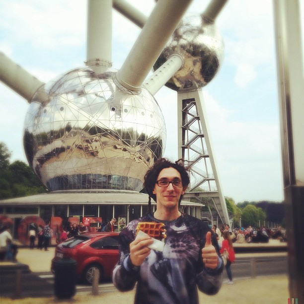 waffles! oh and a humongous atom. but, waffles! (at Atomium)