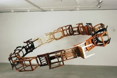 Brooklyn-based artist Marc Andre Robinson turns discarded furniture into eye-catching sculptural assemblages. (via My Modern Met)