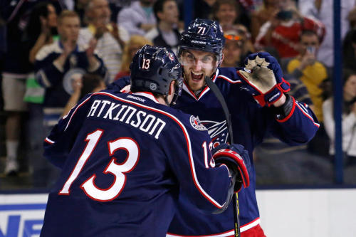 Cam Atkinson & Nick Foligno are happy, but also headed home. With Detroit & Minnesota winning, Columbus is stuck outside looking in.