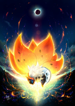 alternativepokemonart:  Artist: Inarimeshi on Pixiv Volcarona by request. Amazing picture.