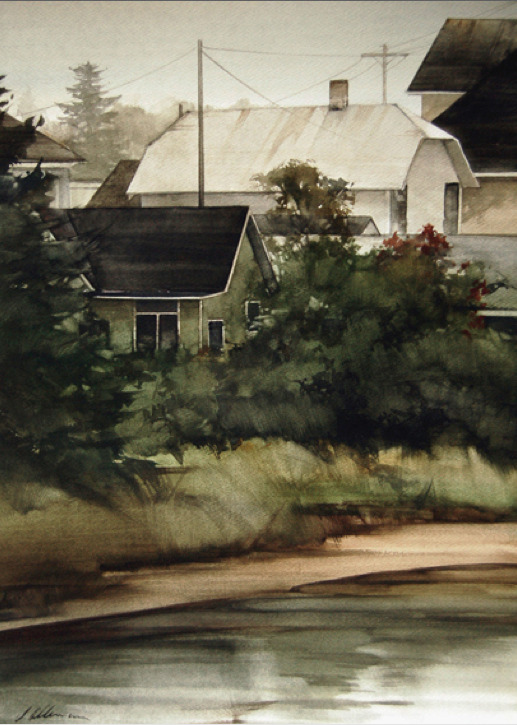 Joseph Alleman - Along the Banks Watercolor