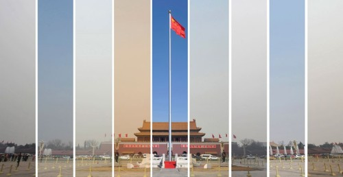 NO FILTER  The air pollution levels in the sky over Tiananmen Square in Beijing are seen in this combination picture taken on March 6, 7, 8, 9, 10, 11, 12, 14 and 15.  (Photo: Wei Yao / Reuters via The Telegraph)