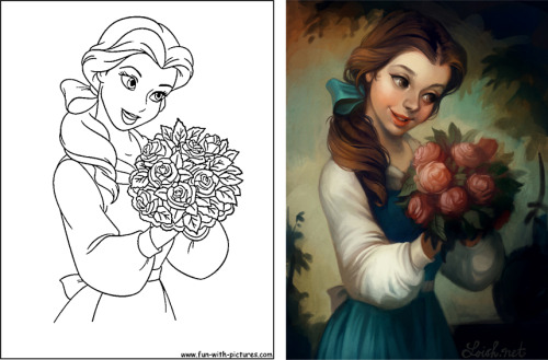 thegirlwithchocolateshoes:  Coloring coloring books into a whole new level. Art on the right by: http://loish.deviantart.com/Coloring book pages belong to Disney.
