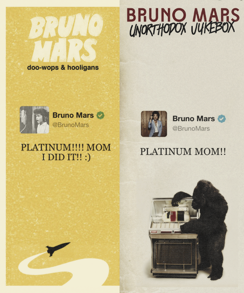 53 million singles sold worldwide and still counting Doo-Wops & Hooligans - 04/23/11 Unorthodox Jukebox - 03/13/13     THIS IS JUST SO AWESOME