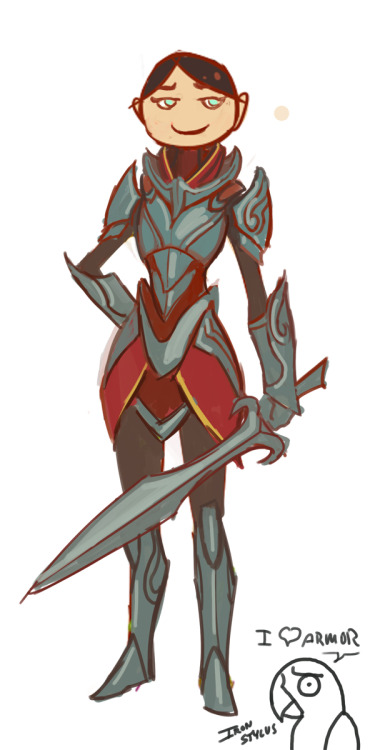 repair-her-armor:  ironstylus submitted:  She looked so sad in those other pictures! So, I put her in some decent armor and I think she's a lot happier! ;D  Oh good LORD. This made me laugh out loud, but I LOVE this! Yes, she's a lot happier now. She's wearing a very, VERY awesome armor! :D And for you who doesn't know, this picture is related to THIS post.