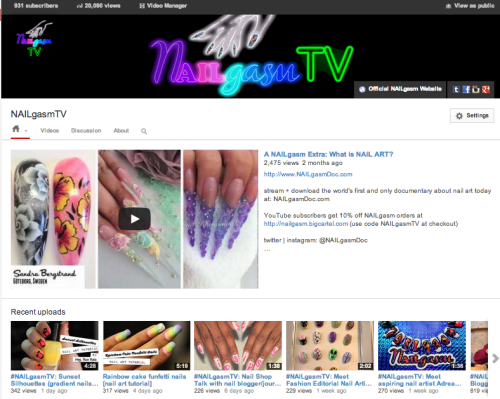 woke up to another milestone today: #NAILgasmTV has reached more than 20,000 views! Huge thank you to all of our viewers and subscribers <3 <3 <3 http://www.youtube.com/nailgasmtv