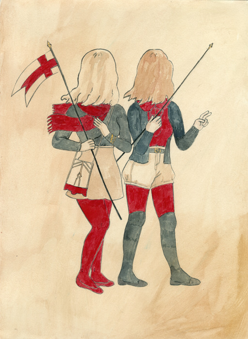 "Ashley Huckabee,""Crusaders"" (2011) ink and watercolor on paper"