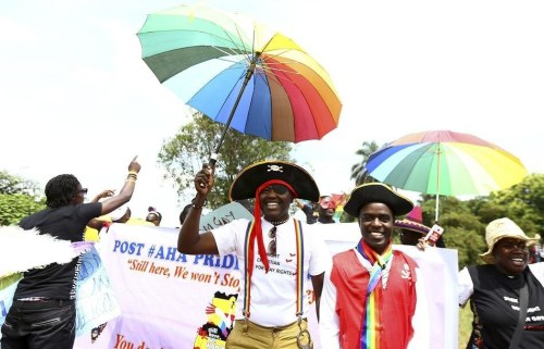 "gaywrites:  Uganda held an invite-only Pride parade this weekend, the first since the Anti-Homosexuality Act was overturned. Being gay is still illegal in Uganda, but it is no longer illegal to ""promote homosexuality"" by associating with other LGBT people or being ""gay in public."" Police gave their permission for the event, and there were no protesters. Small steps, huge impact. (via BuzzFeed)"