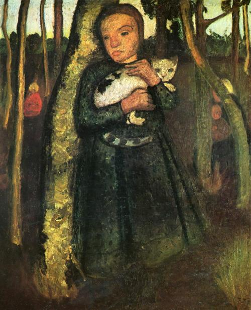 Paula Modershon-Becker  Girl with cat in the wood