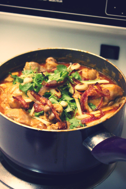 chicken korma.  okay, this is a cheat because i made it with a masala mix but it was still pretty awesome. :) a combined effort with a few friends on a weekend night.