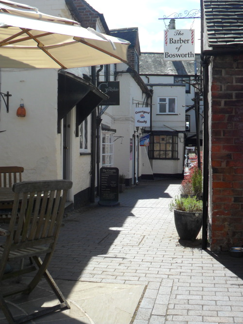 Barber of Bosworth, narrow courtyard in Market Bosworth with shops and a cafe.  Market Bosworth, Leicestershire, England All Original Photography by http://vwcampervan-aldridge.tumblr.com