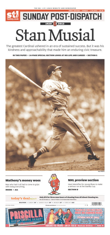 One of the All-Time Greats, Stan The Man Musial. This San Francisco Giants' fan tips his hat to you! Rest In Peace.