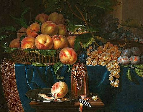 Paul Liegeois Still Life with Peaches, Grapes and Gold Filled Silver Shaker 17th century