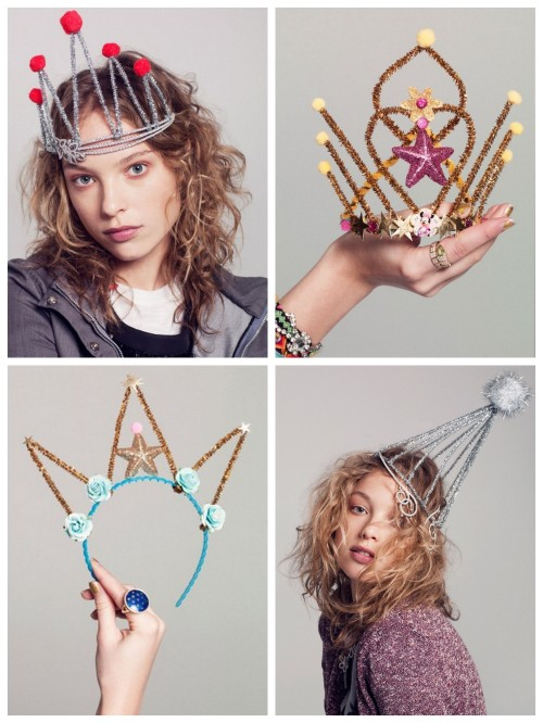 "truebluemeandyou:  DIY Inspiration for Whimsical New Year's Eve Tiaras. From ""Teenagers and Tiaras"", V Magazine, styled by Kelly Framel/The Glamourai, photography by Nick Heavican. First seen at The Man Repeller with an interesting article here about mixing high/low i.e. diamonds and pipe cleaners."