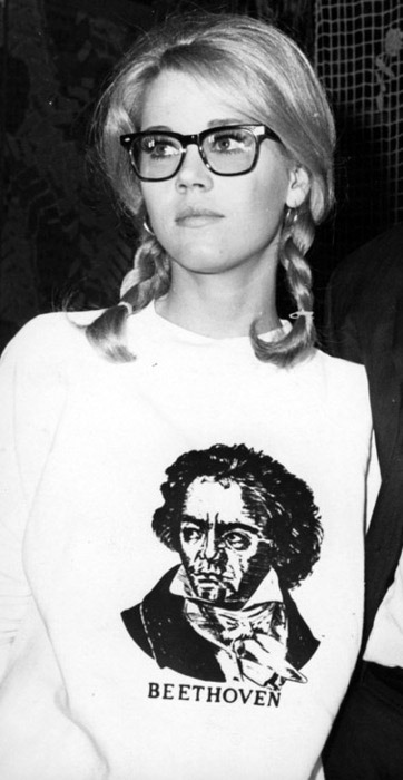 Early hipster Jane Fonda sporting a Beethoven print sweatshirt.