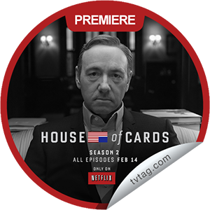 I just unlocked the House of Cards Season 2 Premiere sticker on tvtag                      954 others have also unlocked the House of Cards Season 2 Premiere sticker on tvtag                  You're watching the season 2 premiere of House of Cards. Thanks for tuning in to season 2 of House of Cards! Share this one proudly. It's from our friends at Netflix.