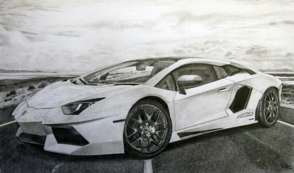 A Lamborghini Aventador I did using pencil.