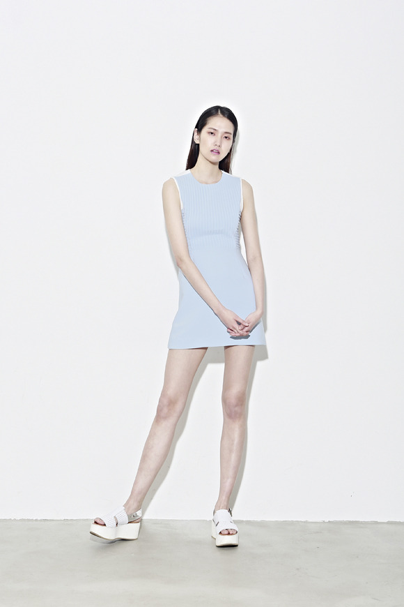 Low Classic Resort 2013 sky blue pin-tuck mesh dress
